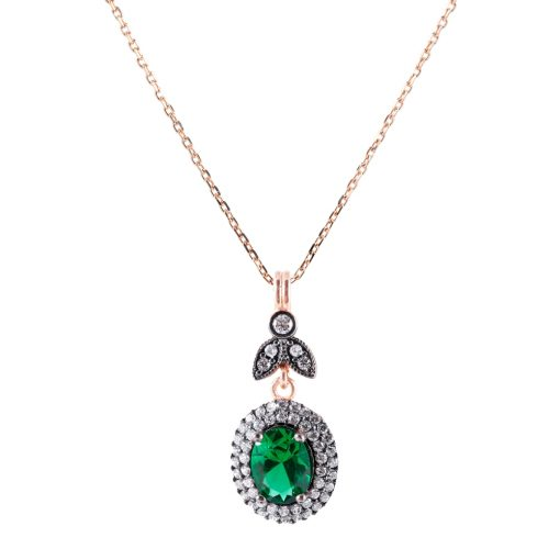 Yeşil Taşlı Kadın Gümüş Kolye G019