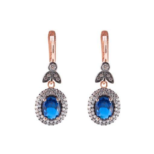 Mavi Taşlı Kadın Gümüş Küpe G021