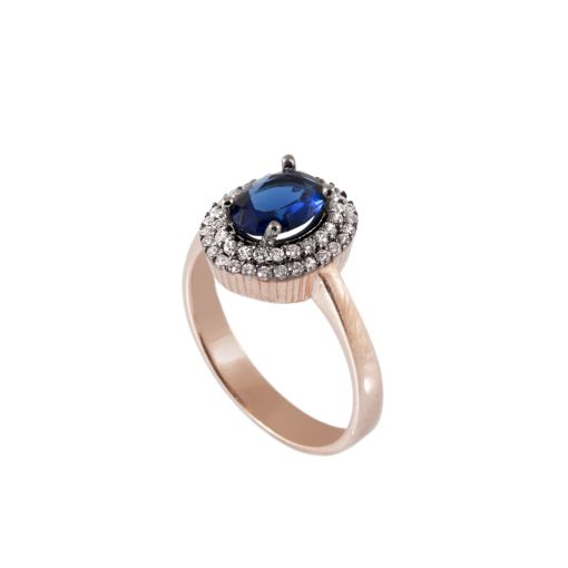 Mavi Taşlı Kadın Gümüş Yüzük G022