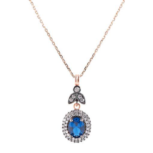 Mavi Taşlı Kadın Gümüş Kolye G023