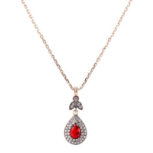 Kırmızı Taşlı Elmas Model Kadın Gümüş Kolye G045