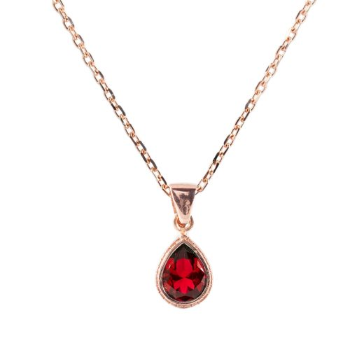Kırmızı Taşlı Kadın Gümüş Kolye G071