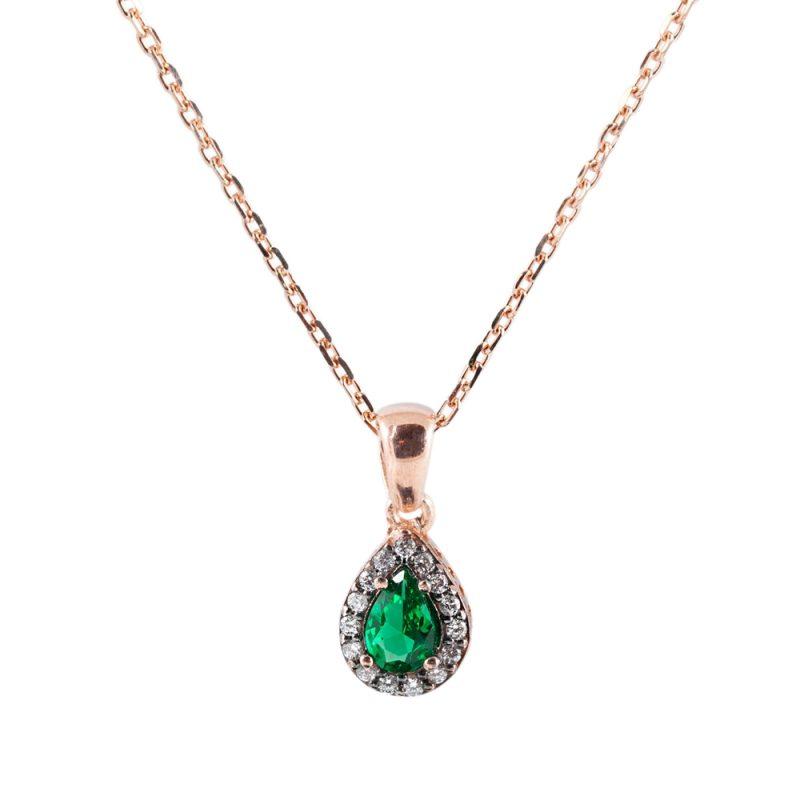 Yeşil Taşlı Kadın Gümüş Kolye G094