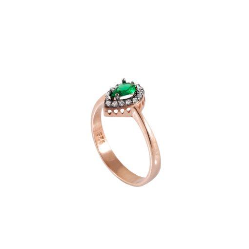 Yeşil Taşlı Kadın Gümüş Yüzük G095