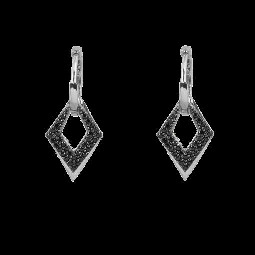 Siyah Taşlı Modern Gümüş Küpe GG020