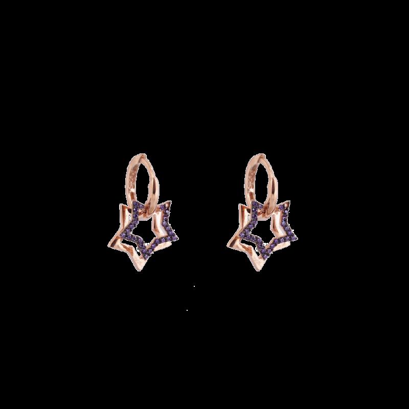 Mor Taşlı Modern Gümüş Küpe GG026