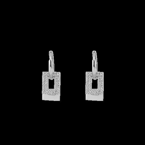 Beyaz Altın Kaplamalı Modern Gümüş Küpe GG004